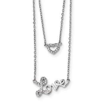 Sterling Silver Rhodium-plated CZ Love 2-strand w/2 inch ext Necklace