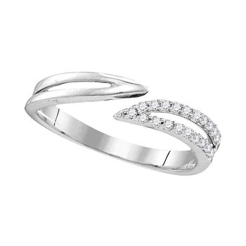 Sterling Silver Womens Round Diamond Bisected Band Ring 1/6 Cttw