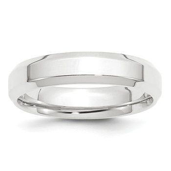 Platinum 5mm Polished Beveled Edge Size 10 Wedding Band
