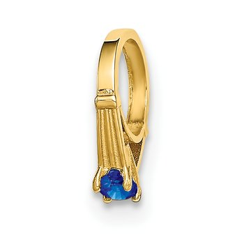 14K 3D Ring with Dark Blue Glass Stone Charm