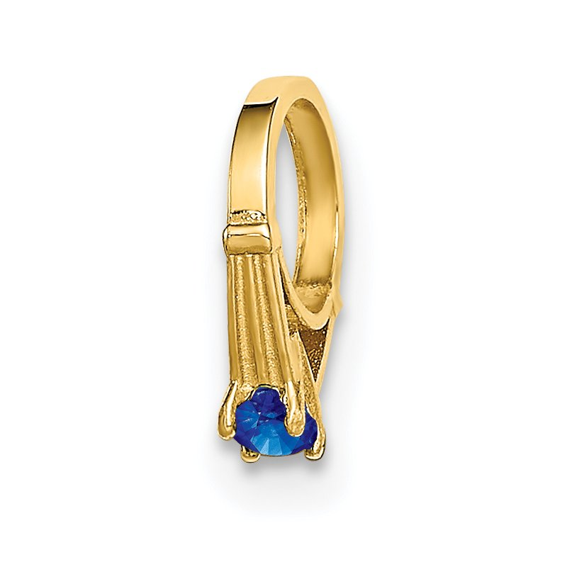 Quality Gold 14K 3D Ring with Dark Blue Glass Stone Charm