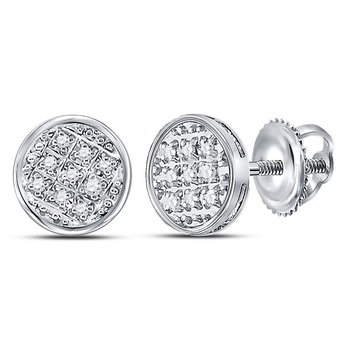 10kt White Gold Mens Round Diamond Circle Cluster Stud Earrings 1/20 Cttw