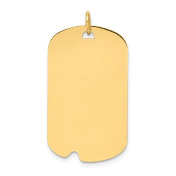 14k Plain .035 Gauge Engravable Dog Tag w/Notch Disc Charm