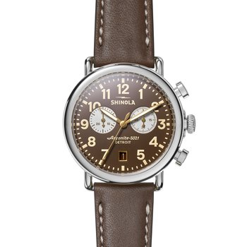 Runwell 2 Eye Chrono 41mm, Dk Nut Brown Lthr Strap