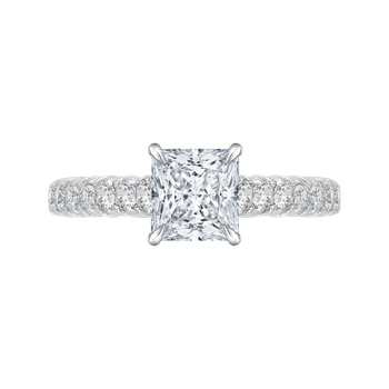18K White Gold Princess Cut Diamond Cathedral Style Engagement Ring (Semi-Mount)