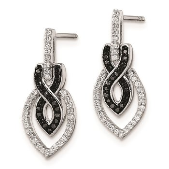 Sterling Silver Rhod Plated Black and White Diamond Earrings