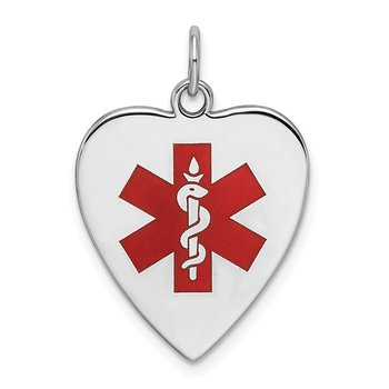 Sterling Silver RH-pltd Engraveable Enamel Sm.Heart Medical Pendant