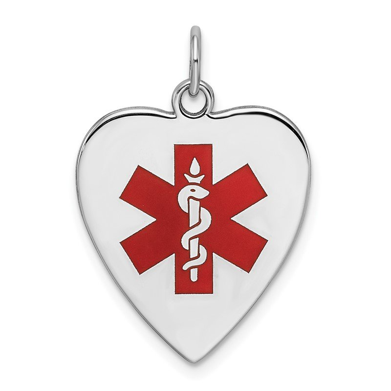 Quality Gold Sterling Silver RH-pltd Engraveable Enamel Sm.Heart Medical Pendant