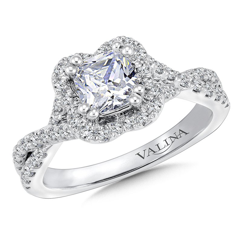 Valina Floral shape halo .47 ct. tw., 1 ct. princess center
