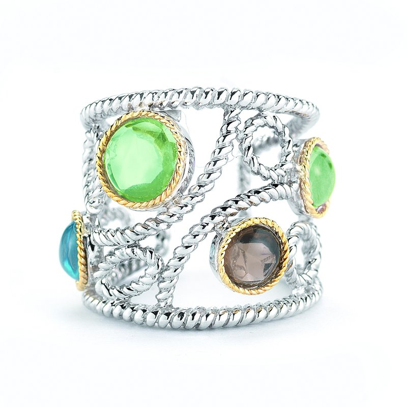 Shula NY Sterling Silver and 14K Yellow Gold Ring with Semi-Precious Stones