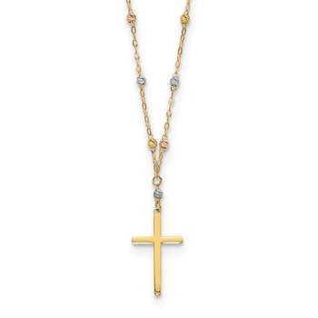 14k Tri-color Diamond-cut Beaded Polished Cross Necklace