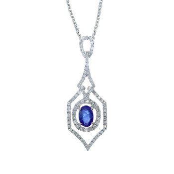 14k White Gold Sapphire and .36 ct Diamond Pendant