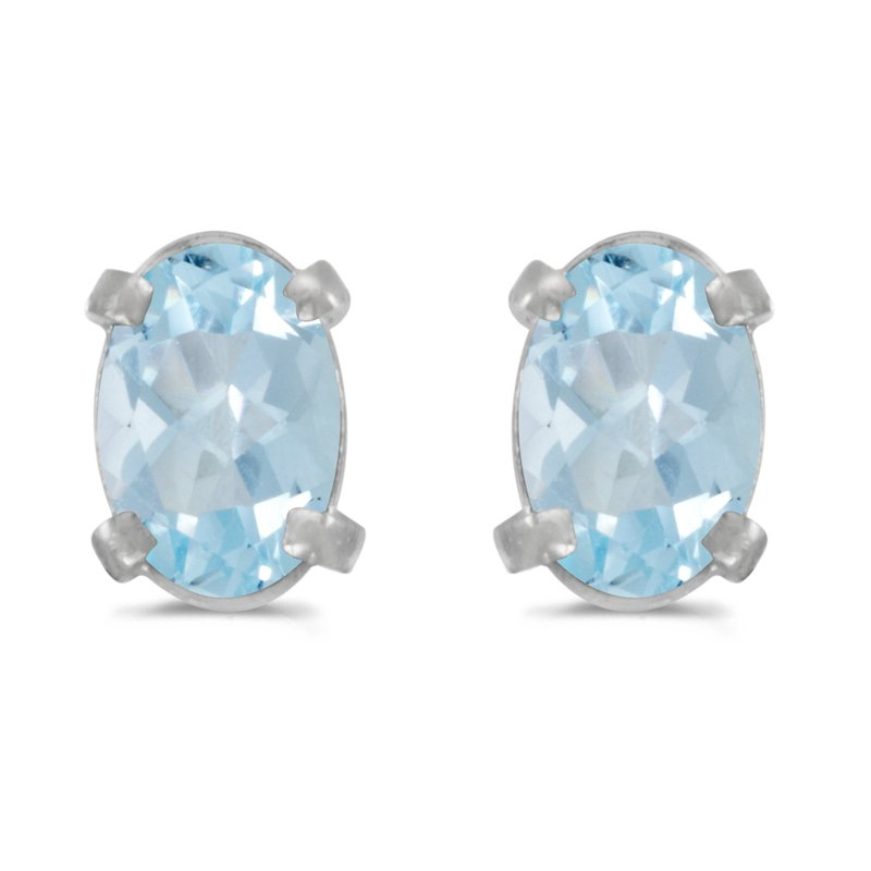Color Merchants 14k White Gold Oval Aquamarine Earrings