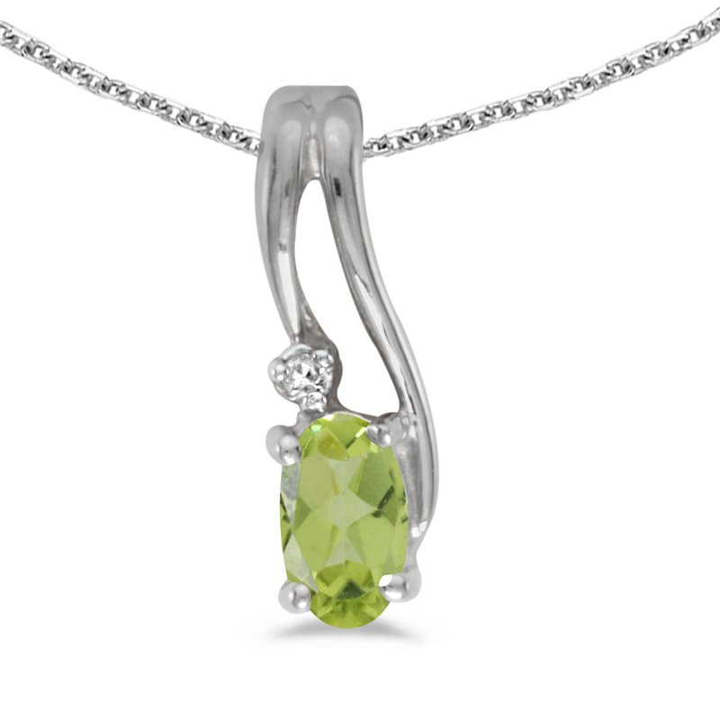 Color Merchants 14k White Gold Oval Peridot And Diamond Wave Pendant