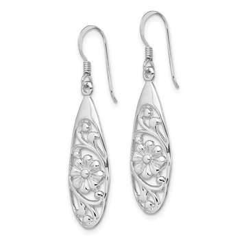 Sterling Silver Rhod-plated Polished Fancy Flower Dangle Earrings