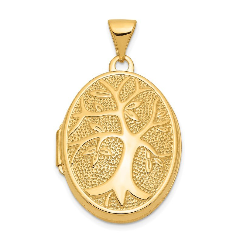 Quality Gold 14ky 21x16mm Oval Tree Locket
