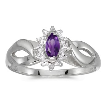 10k White Gold Marquise Amethyst And Diamond Ring
