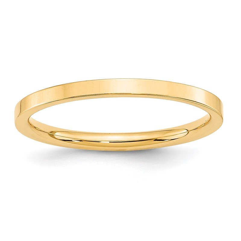 Quality Gold 14KY 2mm Standard Flat Comfort Fit Band Size 10