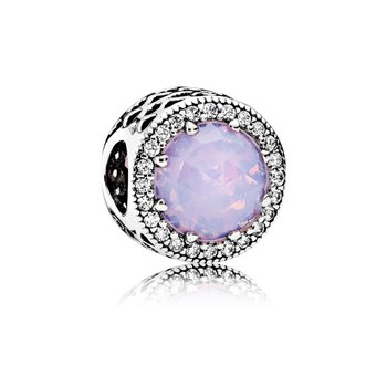 Radiant Hearts Charm, Opalescent Pink Crystal & Clear CZ