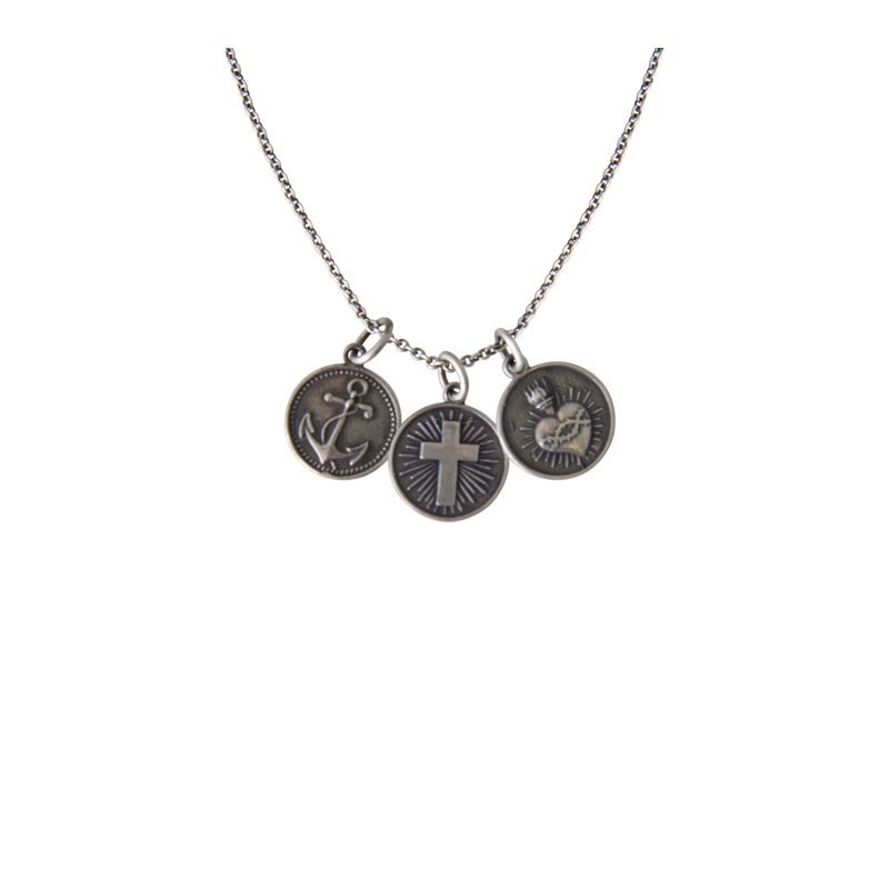 Brother Wolf Faith Hope and Charity Charm Necklace