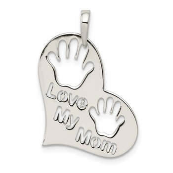 Sterling Silver Polished Love My Mom Heart Pendant