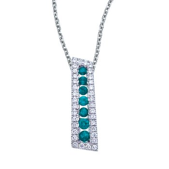 14k White Gold Emerald and Diamond Stick Pendant