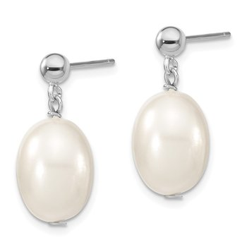 Sterling S Majestik Rh-pl10-11mm Wht Rice Imitat Shell Pearl Post Dangle Ea