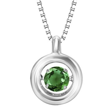 Silver Emerald Rhythm Of Love Pendant