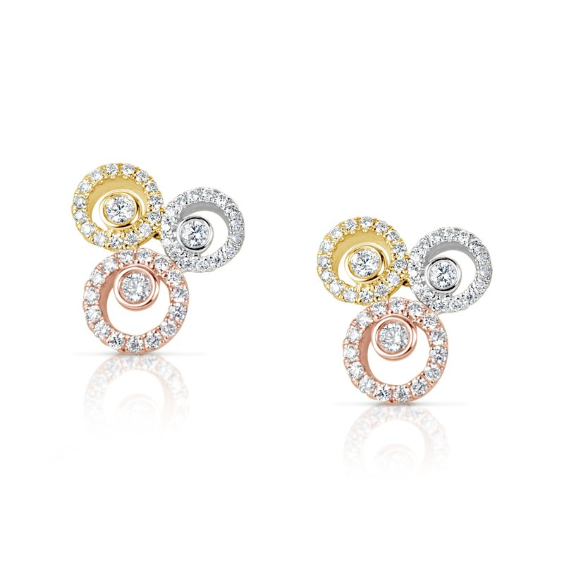 S. Kashi  & Sons Tri Color Diamond Earring