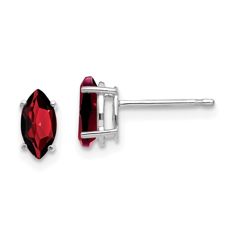 Quality Gold 14k White Gold 7x3.5mm Marquise Garnet earring