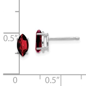 14k White Gold 7x3.5mm Marquise Garnet earring