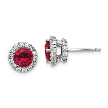Cheryl M Sterling Silver Rhodium Plated CZ & Created Ruby Stud Earrings