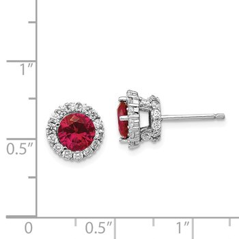 Cheryl M SS CZ & Lab Created Ruby Stud Earrings