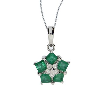 14k White Gold Emerald and Diamond Floral Star Pendant