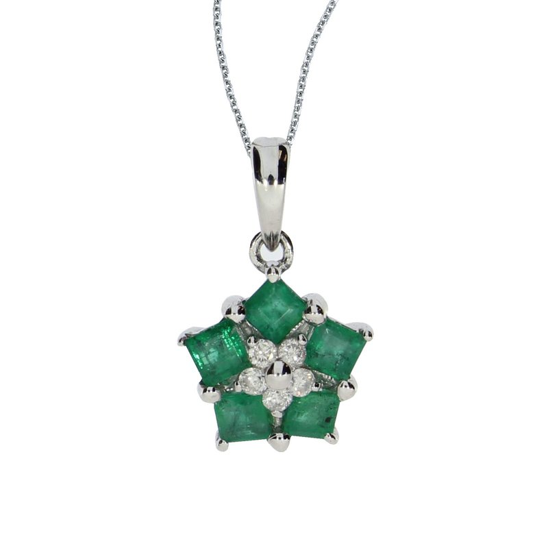Color Merchants 14k White Gold Emerald and Diamond Floral Star Pendant