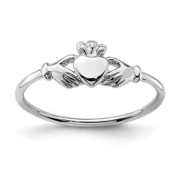 Sterling Silver Rhodium-plated Claddagh Ring