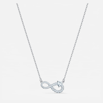 Swarovski Infinity Necklace, White, Rhodium plated