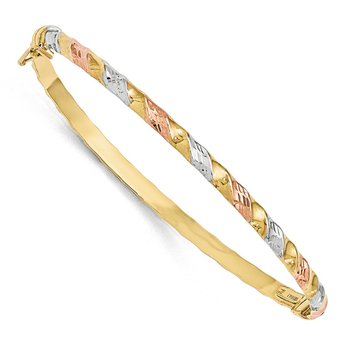 Leslies 10k Gold with White/Rose Rhodium Textured Bracelet
