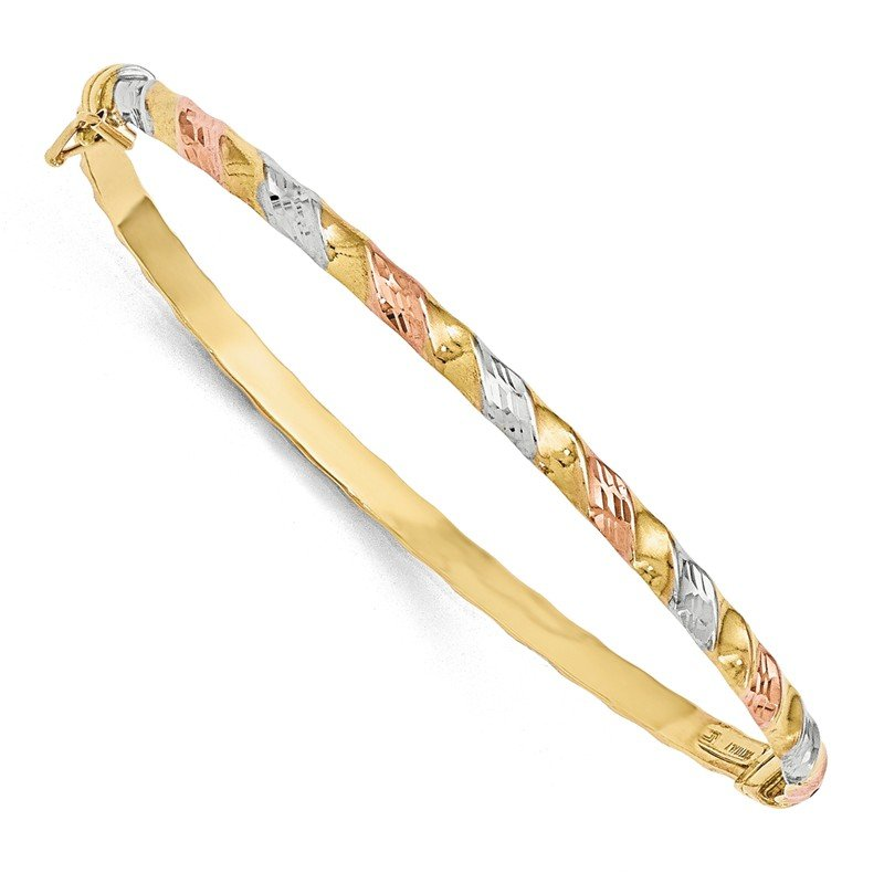 Leslie's Leslies 10k Gold with White/Rose Rhodium Textured Bracelet