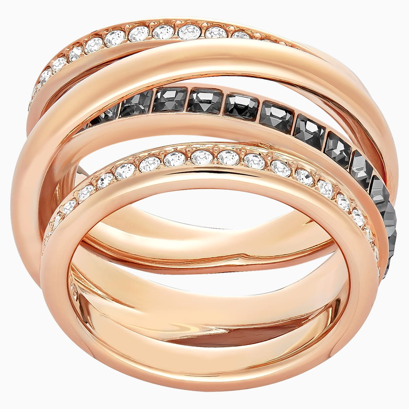 Swarovski Dynamic Ring, Gray, Rose-gold tone plated