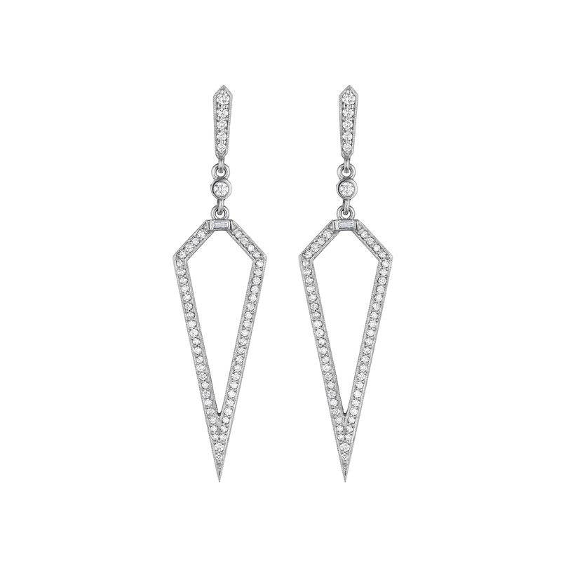 Penny Preville Long Baguette & Open Triangle Earrings