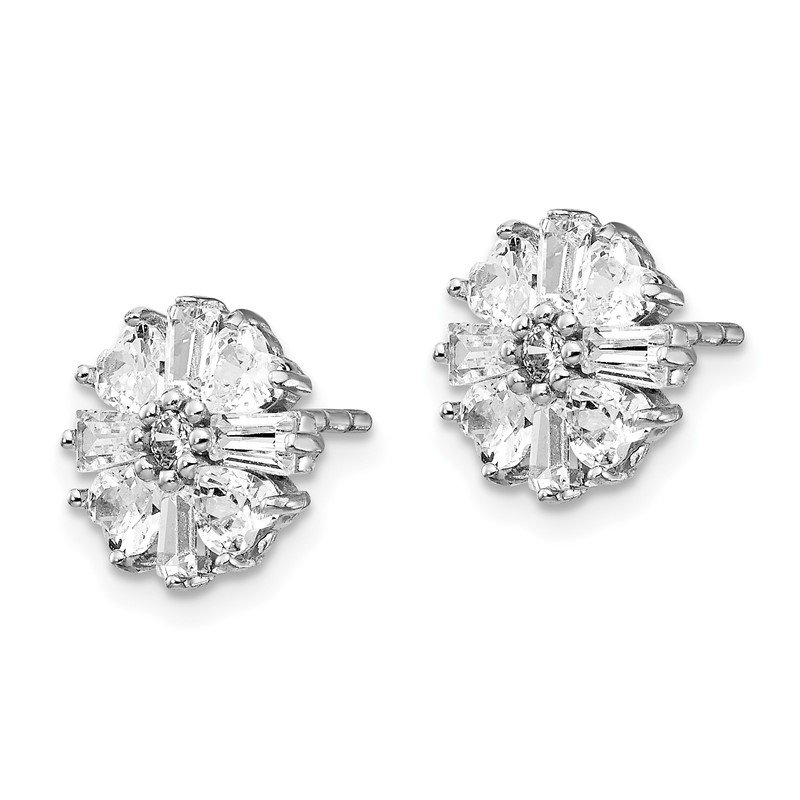 Cheryl M Cheryl M SS Rhodium-plated Emerald-cut & Brilliant-cut CZ Post Earrings