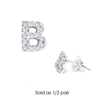 "Diamond Single Initial ""B"" Stud Earring (1/2 pair)"