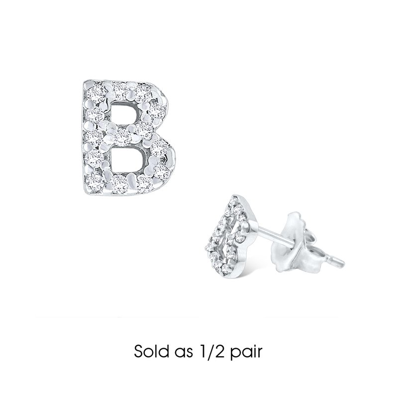 "KC Designs Diamond Single Initial ""B"" Stud Earring (1/2 pair)"