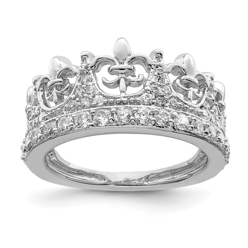 Quality Gold Sterling Silver Fleur-de-lis Crown CZ Ring