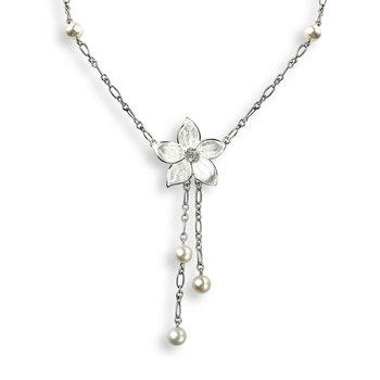 White Stephanotis Necklace.Sterling Silver-White Sapphire and Freashwater Pearl