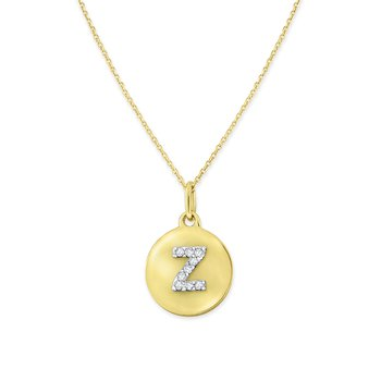 Diamond Uppercase Mini Disc Initial Z Necklace