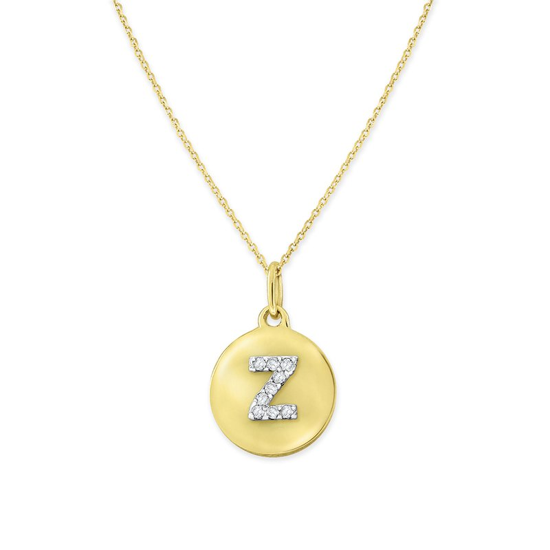 KC Designs Diamond Uppercase Mini Disc Initial Z Necklace