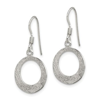 Sterling Silver Polished & Textured Round Dangle Earrings