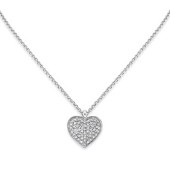Diamond Heart Necklace in 14k White Gold with 57 Diamonds weighing .20ct tw.